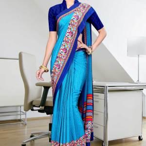 blue-dark-blue-italian-crepe-uniform-saree-351