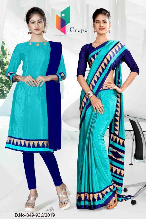 blue-icrepe-silk-corporate-uniform-saree-salwar-combo-849-936