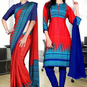 blue-red-italian-crepe-uniform-saree-salwar-combo-394