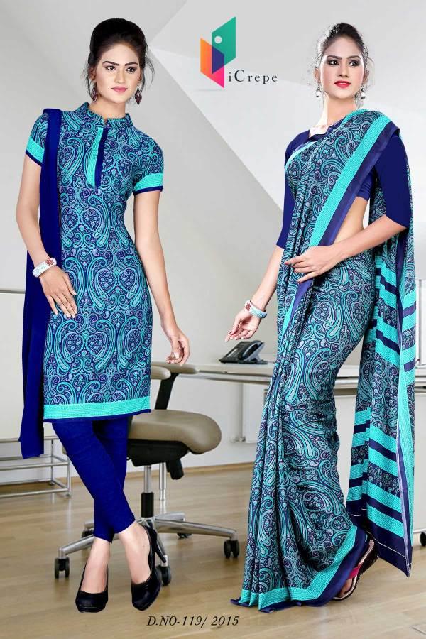 blue-with-sky-blue-border-italian-crepe-uniform-saree-combo-119