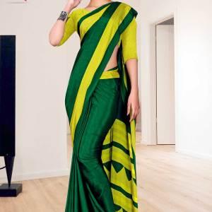 bottle-green-yellow-plain-border-print-premium-italian-silk-crepe-uniform-sarees-for-school-teachers-1605