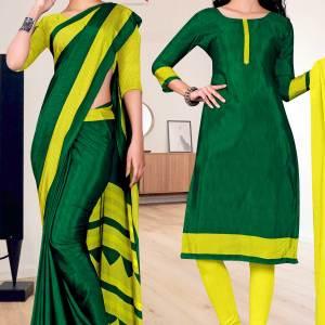 bottle-green-yellow-plain-border-print-premium-italian-silk-crepe-uniform-sarees-salwar-combo-for-school-teachers-1605-c