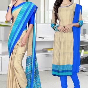 brown-and-blue-italian-crepe-silk-teachers-uniform-saree-salwar-combo-517-688