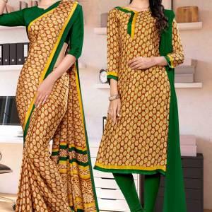 brown-bottle-green-premium-italian-silk-crepe-saree-salwar-kameez-for-annual-function-uniform-sarees-1036-C