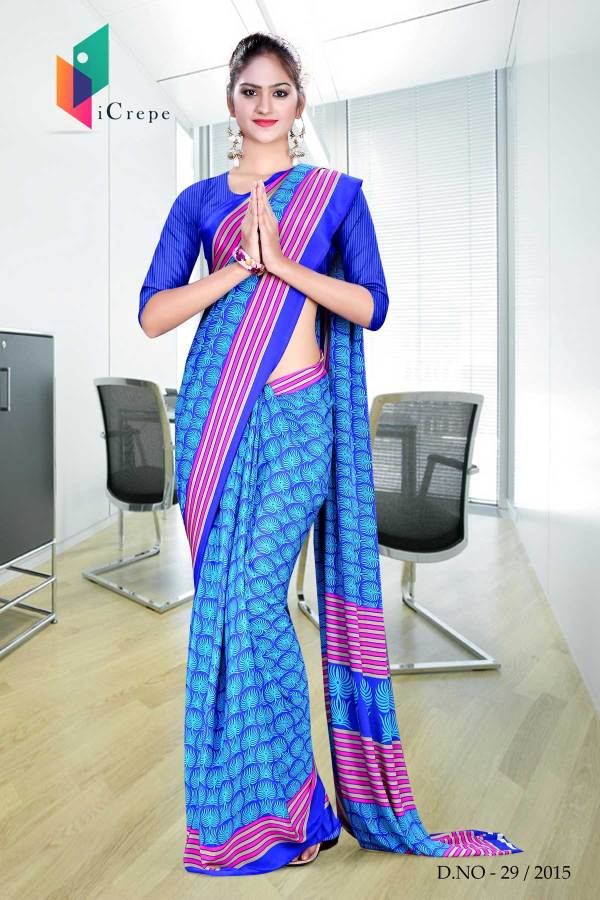 brown-with-blue-border-italian-crepe-uniform-saree-19