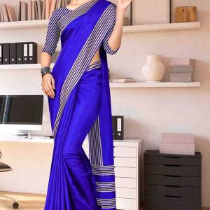 BSP-blue-amberkar-plain-border-premium-polycotton-cotfeel-saree-for-jai-bhim-uniform-sarees-1621