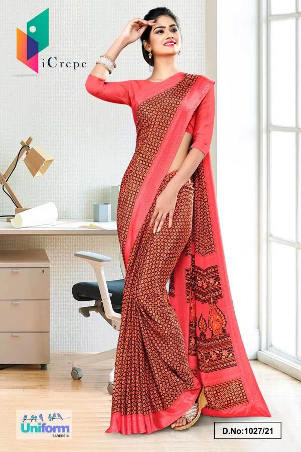 carrot-pink-and-brown-small-print-premium-italian-silk-crepe-uniform-sarees-for-school-teachers-1027-21