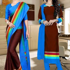 coffee-and-blue-italian-crepe-silk-college-uniform-saree-salwar-combo-472-653