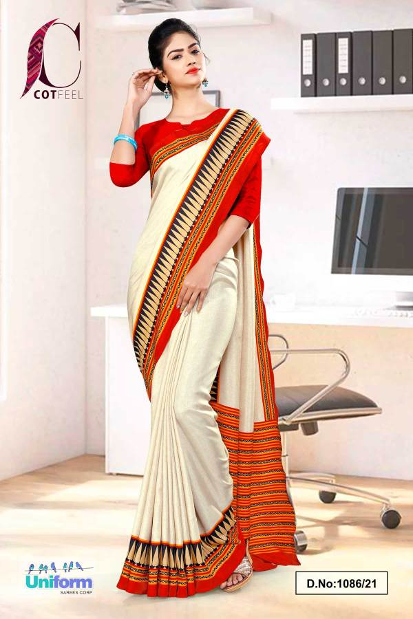 cream-red-plain-gala-border-polycotton-cotfeel-saree-for-factory-uniform-sarees-1086-21