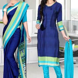 dark-blue-and-blue-italian-crepe-silk-school-uniform-saree-salwar-combo-520-634