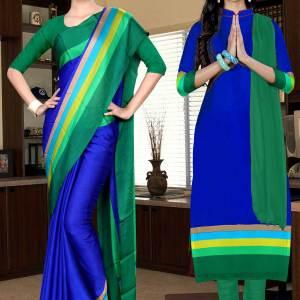 dark-blue-and-green-italian-crepe-silk-hotel-uniform-saree-salwar-combo-513-655