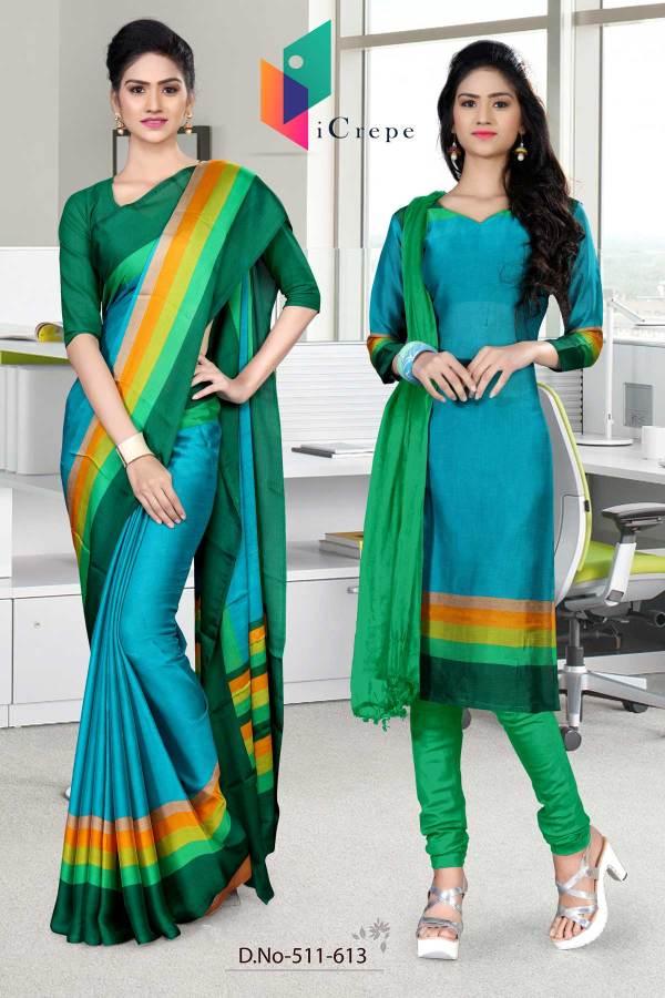 dark-blue-and-green-italian-crepe-silk-institute-uniform-saree-salwar-combo-511-613