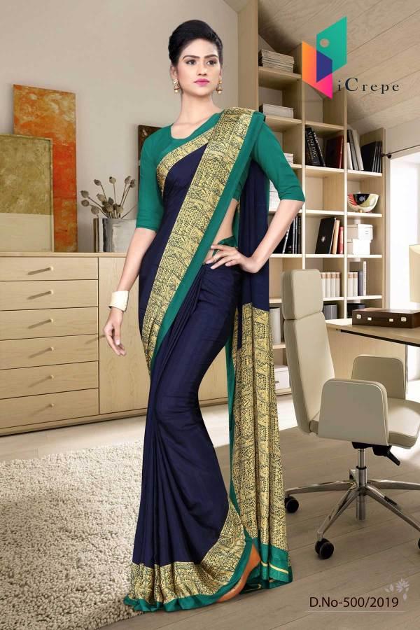 dark-blue-and-green-italian-crepe-silk-institution-uniform-saree-500