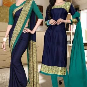 dark-blue-and-green-italian-crepe-silk-office-uniform-saree-salwar-combo-500-620
