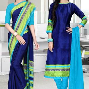 dark-blue-and-turquoise-italian-crepe-silk-hotel-uniform-saree-salwar-combo-474-640