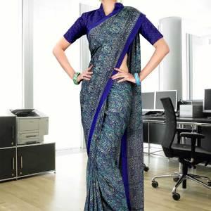 dark-blue-italian-crepe-uniform-saree-235