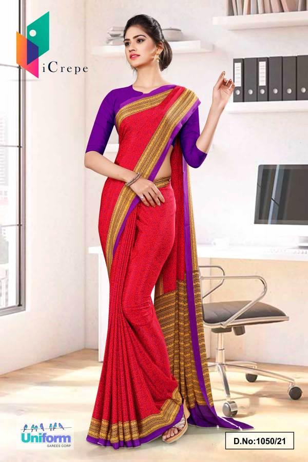 dark-pink-lavender-paisley-print-premium-italian-silk-crepe-uniform-sarees-for-front-office-staff-1050-21