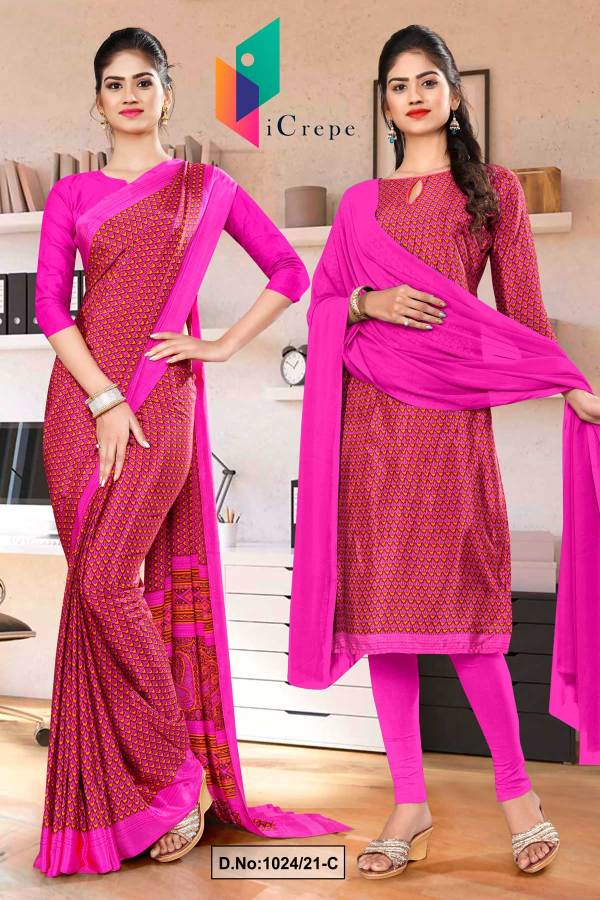 dark-pink-small-print-premium-italian-silk-crepe-saree-salwar-combo-for-hotel-uniform-sarees-1024-C