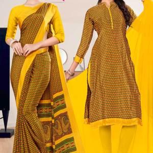 gold-yellow-small-print-premium-italian-silk-crepe-saree-chudidar-combo-for-institution-uniform-sarees-1023-C