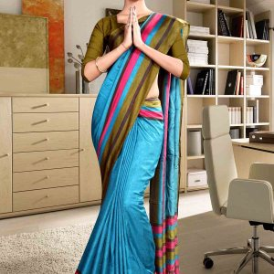 green-and-blue-fancy-corporate-uniform-saree-852-19