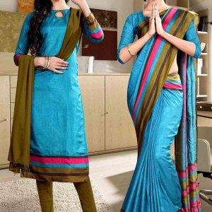 green-and-blue-fancy-corporate-uniform-saree-salwar-combo-852-921
