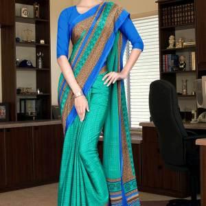 green-and-blue-italian-crepe-silk-office-uniform-saree-531