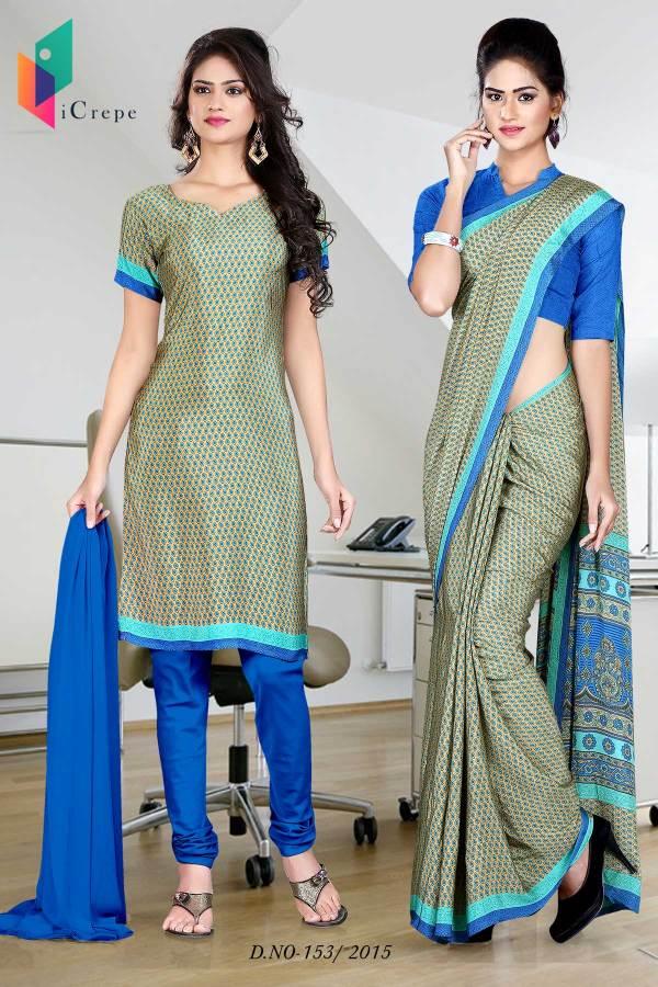 green-and-blue-italian-crepe-uniform-saree-salwar-combo-153