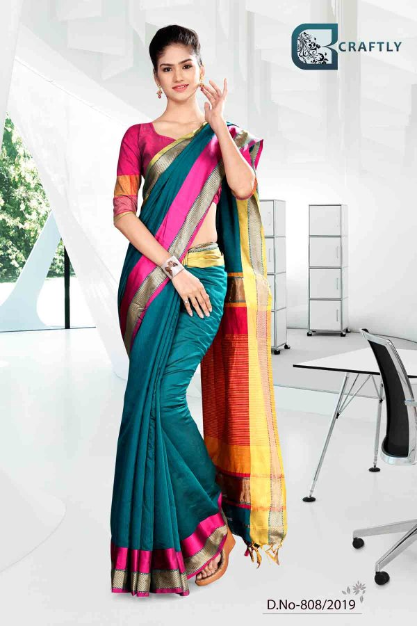 green-and-yellow-with-pink-color-craftly-cotton-corporate-uniform-saree-808