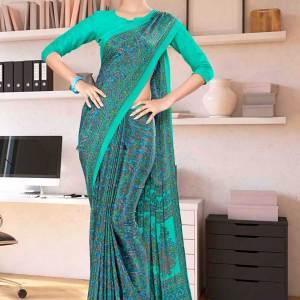 green-paisley-print-premium-italian-crepe-uniform-sarees-for-hotels-1096-21