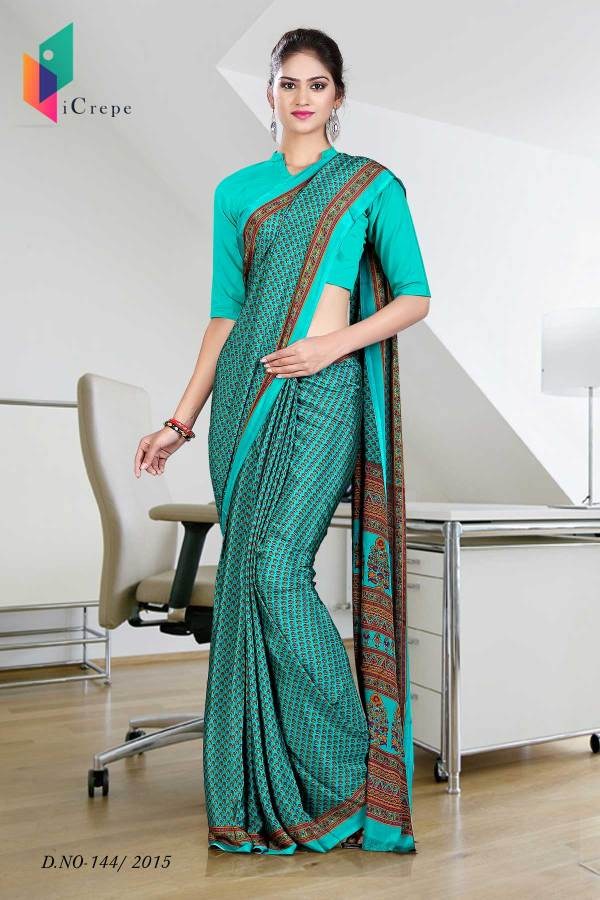 green-with-brown-border-italian-crepe-uniform-saree-144-17