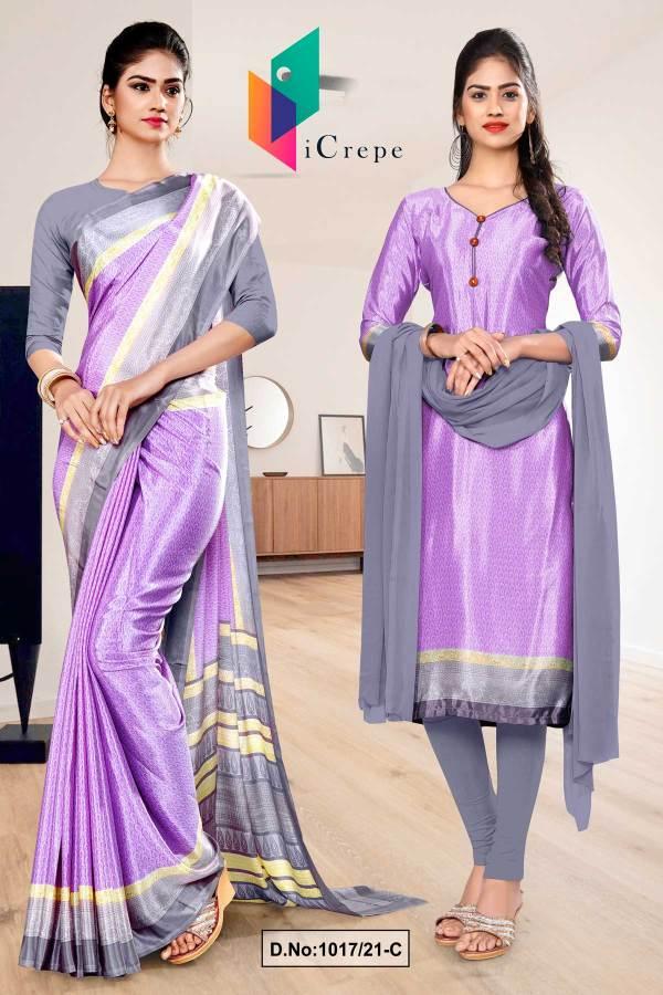 lavender-gray-premium-italian-silk-crepe-saree-salwar-combo-for-factory-uniform-sarees-1017-C