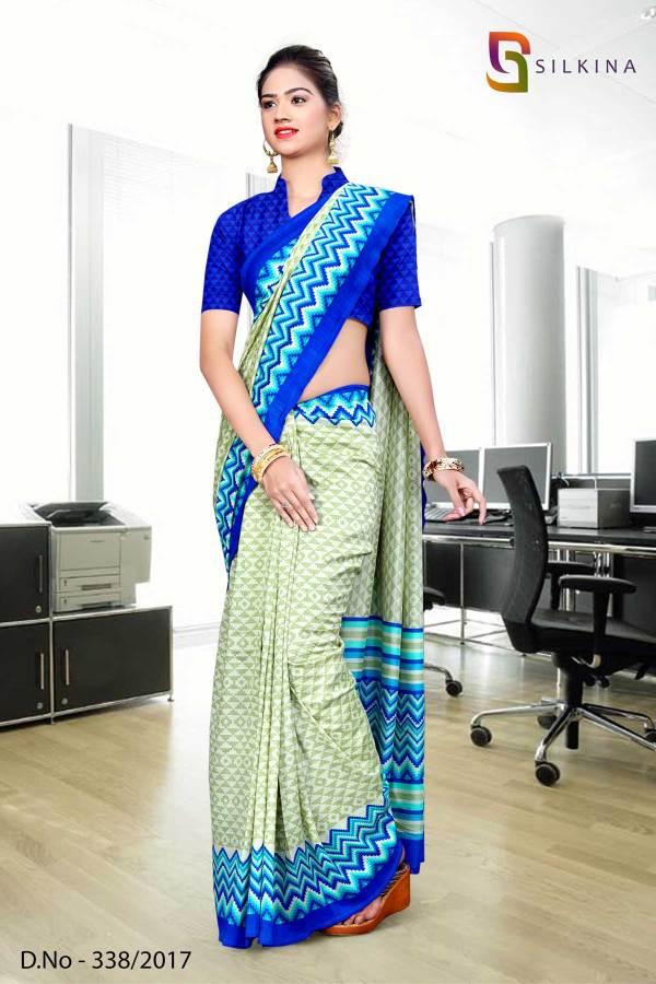 light-green-blue-silk-georgette-uniform-saree-338