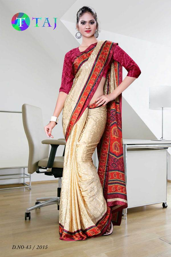 beige-and-maroon-jacquard-crepe-taj-hotel-uniform-sarees-43