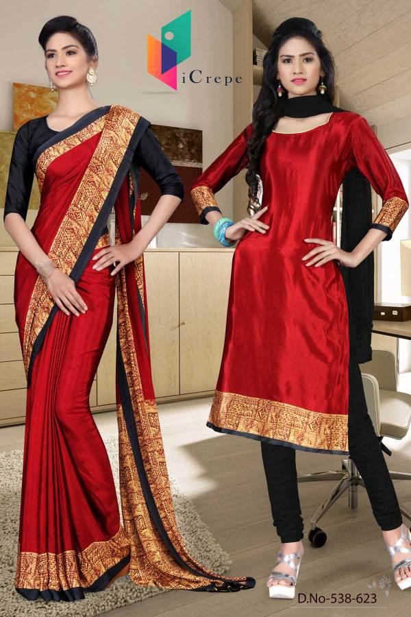 maroon-and-black-italian-crepe-silk-staff-uniform-saree-salwar-combo-538-623