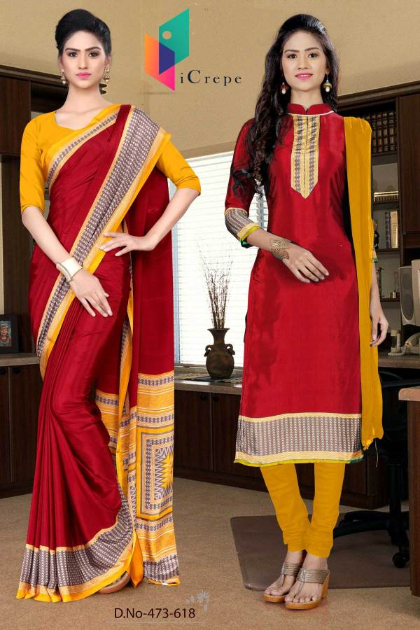 maroon-and-yellow-italian-crepe-silk-institute-uniform-saree-salwar-combo-473-618