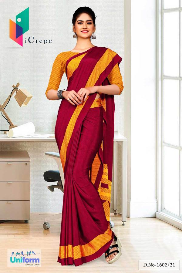 maroon-gold-premium-italian-silk-crepe-saree-salwar-combo-for-front-office-uniform-sarees-1602
