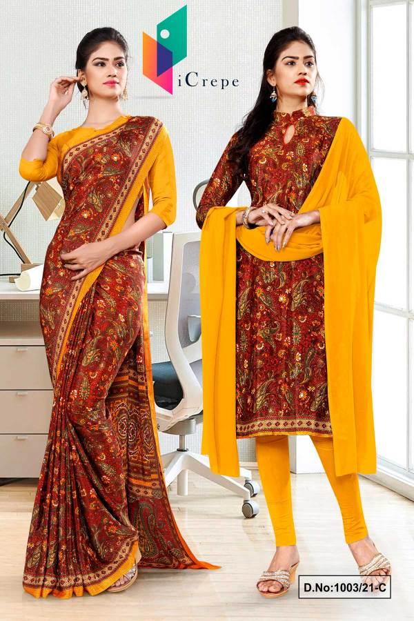 maroon-gold-premium-paisley-print-italian-crepe-saree-salwar-combo-for-office-uniform-sarees-1003-C