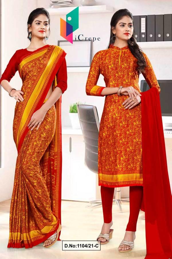 maroon-yellow-paisley-print-premium-italian-silk-crepe-uniform-saree-chudi-combo-for-institutions-1104-C