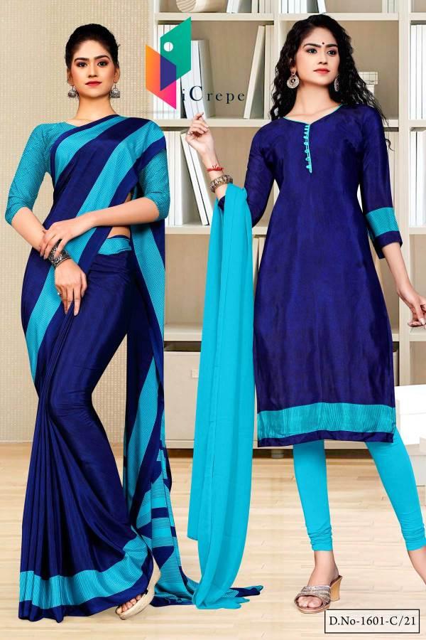 navy-blue-sea-green-gala-border-premium-italian-silk-crepe-uniform-saree-for-showroom-staff-salwar-combo-1601-C