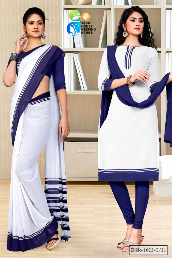 navy-blue-white-premium-georgette-mother-teresa-hospital-uniform-sarees-salwar-combo-for-office-staff-1622-C