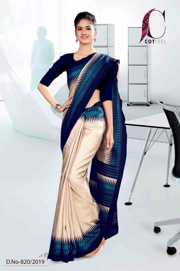 off-white-and-blue-cotton-corporate-uniform-saree-820-19