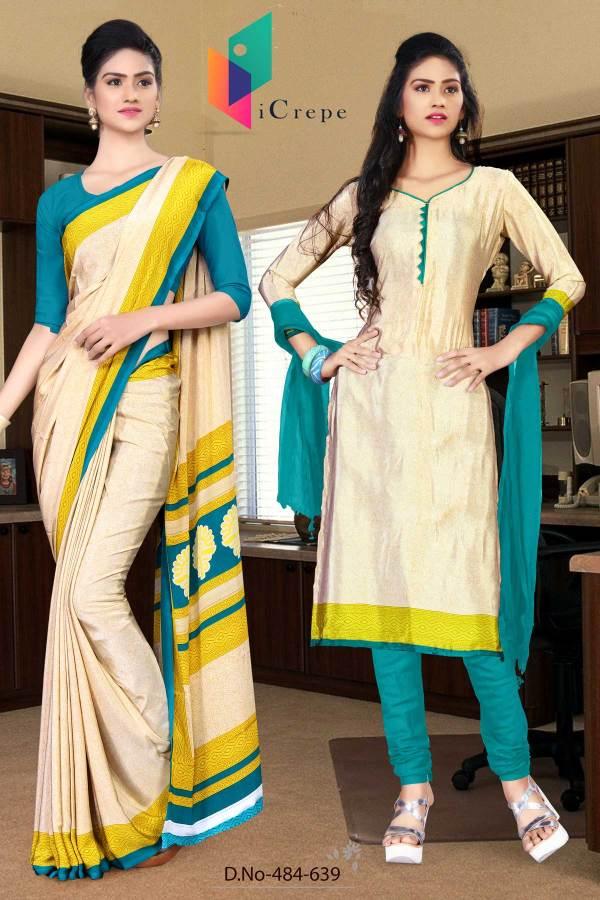 off-white-and-blue-italian-crepe-silk-hotel-uniform-saree-salwar-combo-484-639