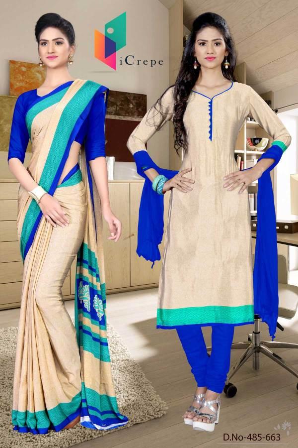 off-white-and-blue-italian-crepe-silk-showroom-uniform-saree-salwar-combo-485-663