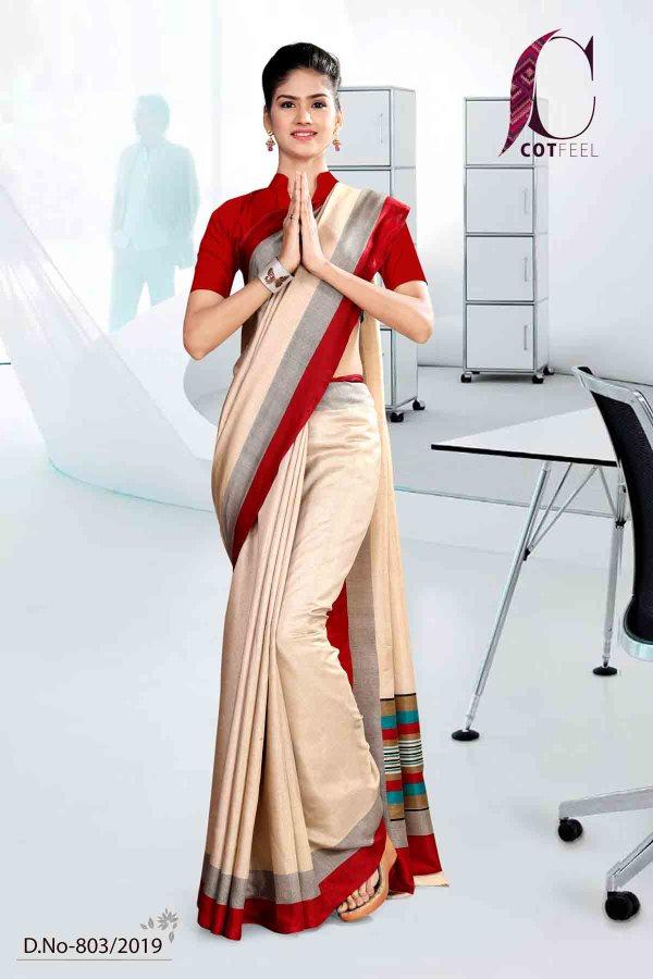 off-white-and-red-tripura-cotton-corporate-uniform-saree-803-19