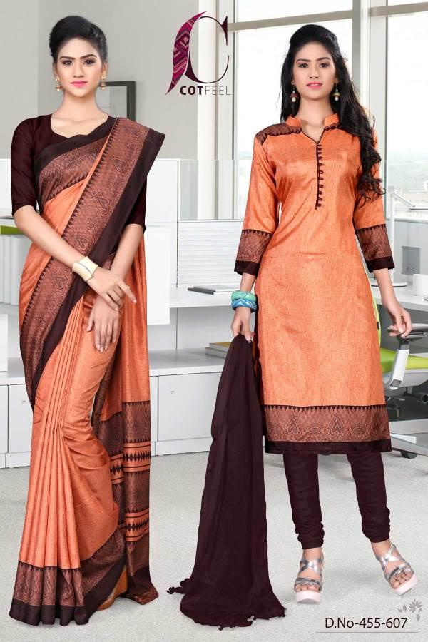 orange-and-coffee-tripura-cotton-school-uniform-sarees-combo-455-607