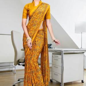 orange-italian-crepe-uniform-saree-345
