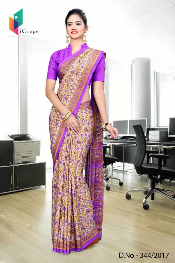 orange-purple-italian-crepe-uniform-saree-344