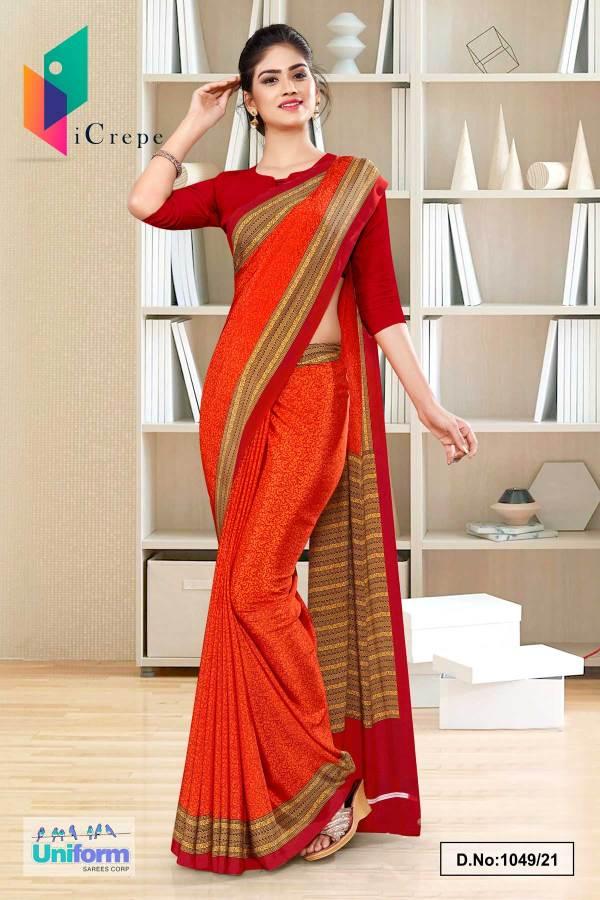 orange-red-paisley-print-premium-italian-silk-crepe-uniform-sarees-for-jewellery-showroom-1049-21