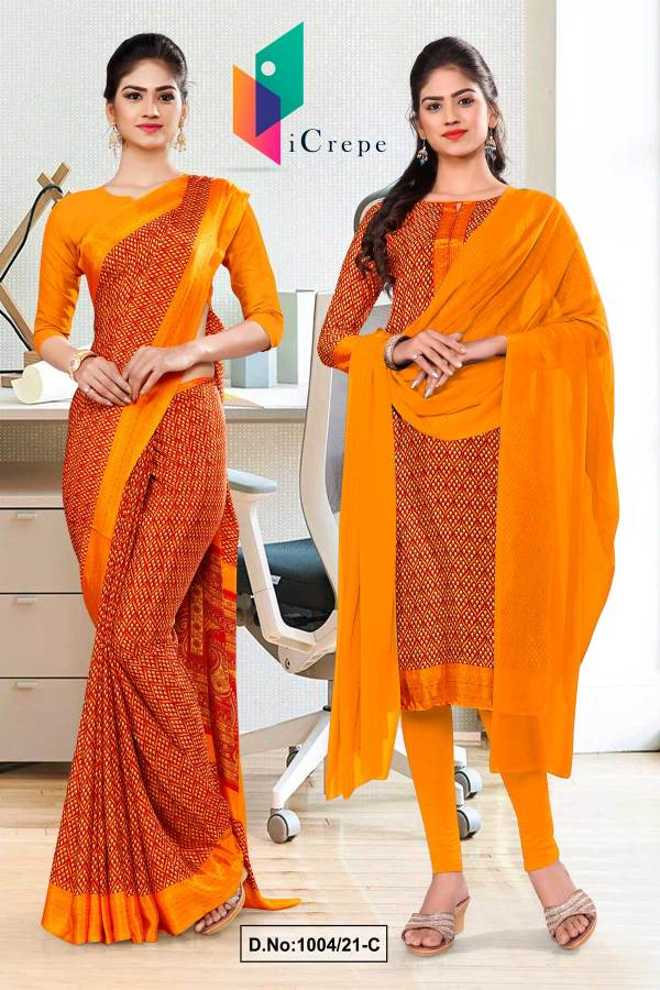 orange-small-print-premium-italian-silk-crepe-saree-salwar-combo-for-hospital-uniform-sarees-1004-C