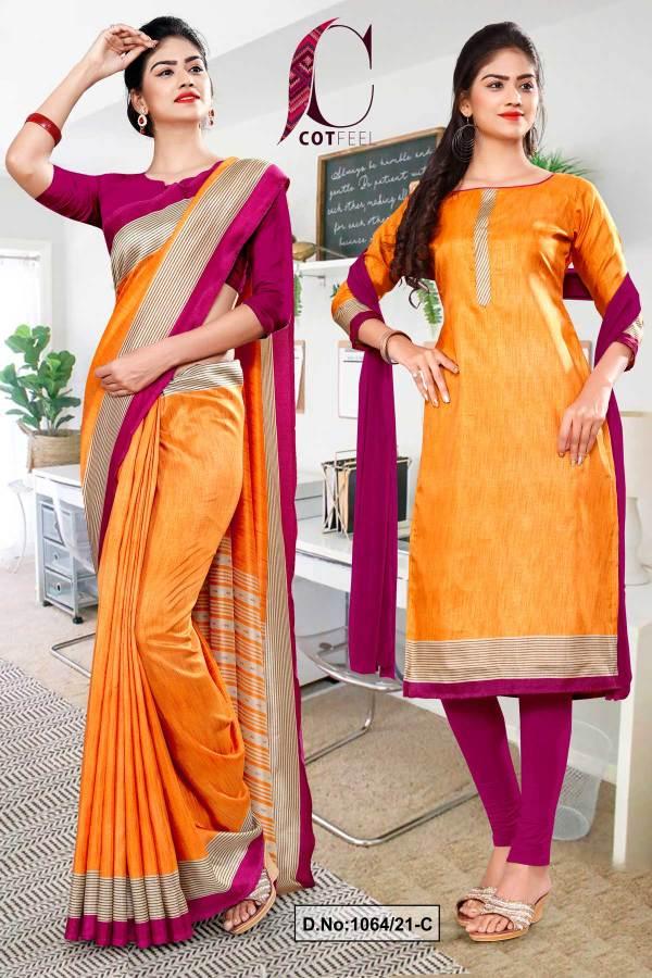 orange-wine-plain-border-premium-polycotton-cotfeel-saree-salwar-combo-for-industrial-uniform-sarees-1064